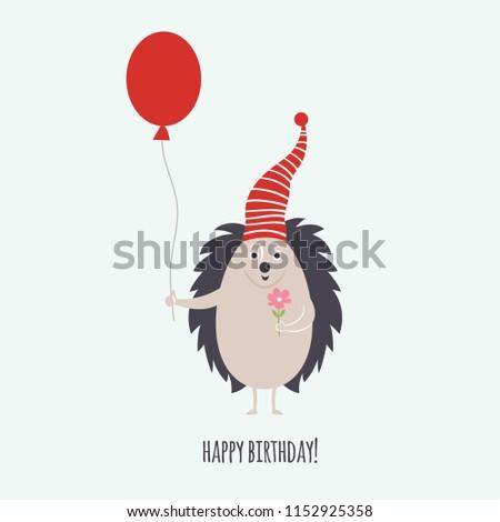 Hedgehog Greeting Card Birthday Card Stock Vector Royalty Free