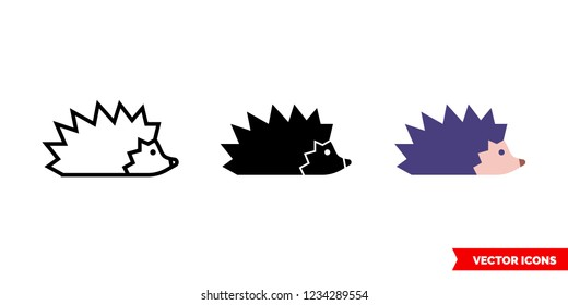 Hedgehog icon of 3 types: color, black and white, outline. Isolated vector sign symbol.