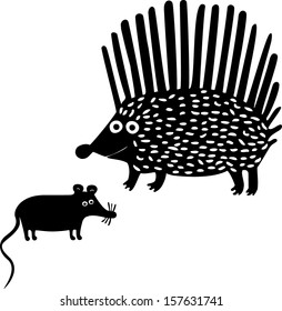 Hedgehog and mouse. Hand drawn illustration.