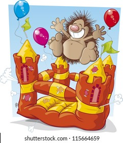 Hedgehog on a bouncy castle