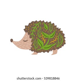 Hedgehog Relaxed Cartoon Wild Animal With Closed Eyes Decorated With Boho Hipster Style Floral Motives And Patterns