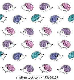 Hedgehog seamless pattern on white background. Cute cartoon animal. Child doodles illustration