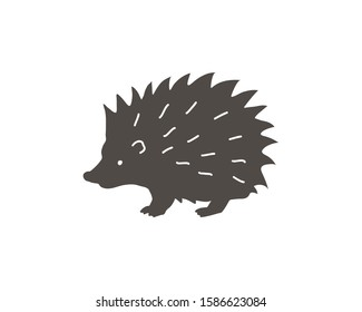 Hedgehog shadow black silhouette. Vector icon of forest animal.