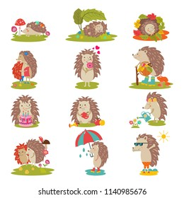 Hedgehog vector cartoon prickly animal character child with cake or umbrella in nature wildlife illustration set of hedgehog-tenrec sleeping or playing in forest isolated on white background