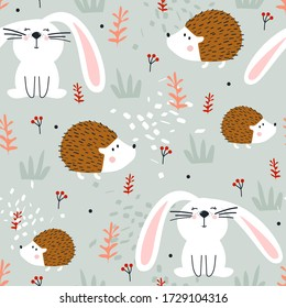 Hedgehogs, bunnies, hand drawn backdrop. Colorful seamless pattern with animals. Decorative cute wallpaper, good for printing. Overlapping colored background vector. Design illustration