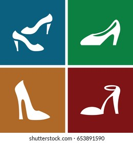 Heel icons set. set of 4 heel filled icons such as woman shoe, heel sandals