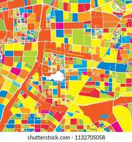 Hefei, China, colorful vector map.  White streets, railways and water. Bright colored landmark shapes. Art print pattern.