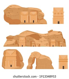 Hegra Saudi Arabia Ancient Village Vector Illustrations Set. AlULa, Mada'in Saleh, Elephant Rock, Qasr al-Farid, Tombs.