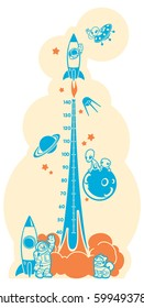 Height charts. Space adventure, meter wall or height meter from 40 to 140 centimeter.