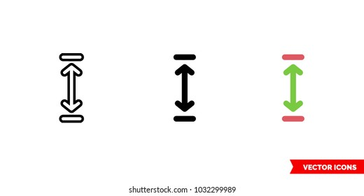 Height icon of 3 types: color, black and white, outline. Isolated vector sign symbol.