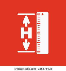 The height icon. Altitude, elevation, level, hgt symbol Flat Vector illustration