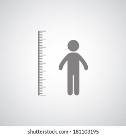 height measurement symbol on gray background