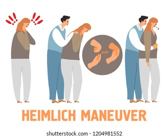 Heimlich maneuver vector illustration - young man saving life of woman performing abdominal thrusts. First aid to choking person. Isolated