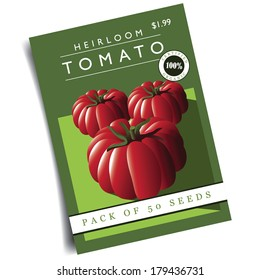 Heirloom tomato seed packet EPS 10 vector, grouped for easy editing. No open shapes or paths.