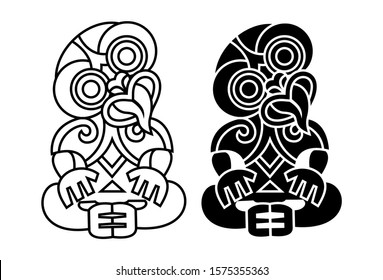Hei-tiki icon, an ornamental pendant of the Māori of New Zealand. Vector Illustration