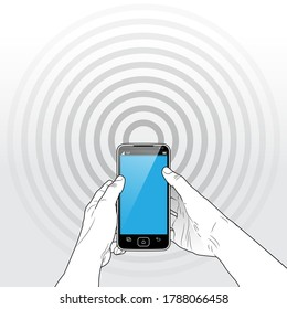 A held Smart Phone with A faintly seen 5G / Wi-Fi / Bluetooth radio signal emitting from behind the device.