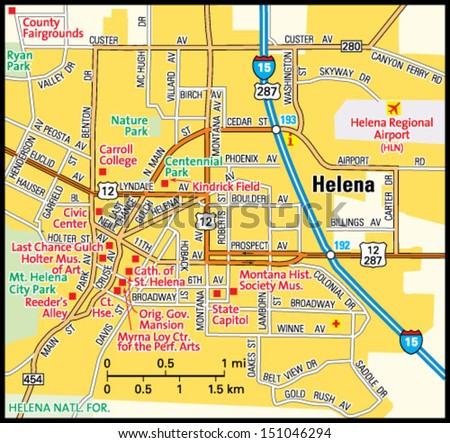 Helena Montana Area Map Stock Vector Royalty Free 151046294