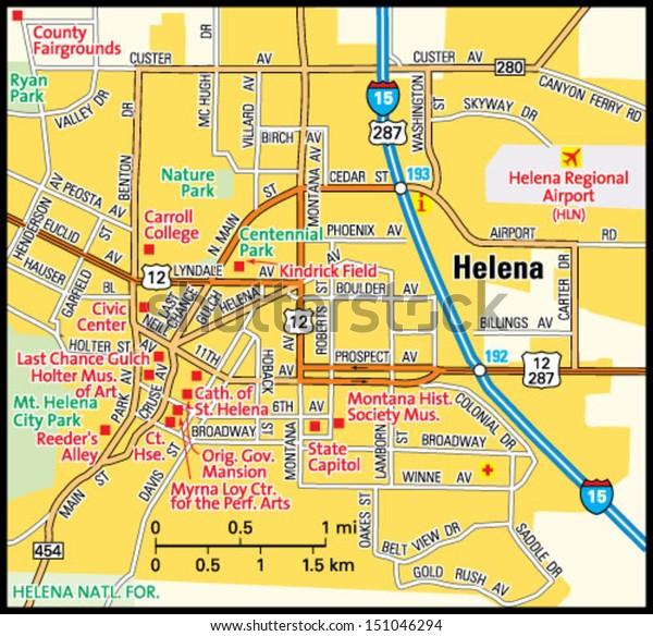 Helena Montana Area Map Stock Vector (Royalty Free) 151046294
