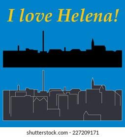 Helena, Montana, city silhouette