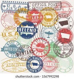 Helena Montana Set of Stamps. Travel Stamp. Made In Product. Design Seals Old Style Insignia.