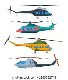 Helicopter Aviation. Helicopters cartoon. Avia transportation isolated on white. Vector transportation with propeller, airscrew flight illustration