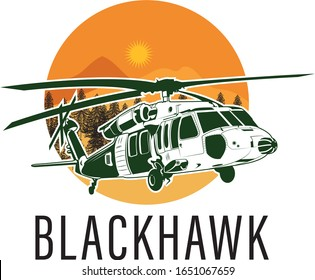 Helicopter blackhawk logo vector, landscape, army, easy to edit !!