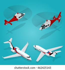 Helicopter and Business aircraft. Flat 3d isometric illustration. For infographics and design