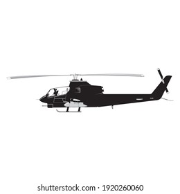 Helicopter detailed silhouette. Vector EPS 10 isolated on a white background