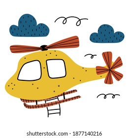 Helicopter doodle childish clipart with clouds and abstract elements isolated on white background.