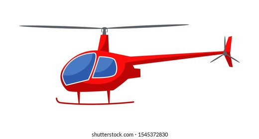 Helicopter flat vector illustration. Modern rotorcraft, aircraft with propeller side view. Emergency rescue service vehicle, news chopper. Air transportation mean isolated on white background