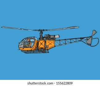 helicopter flying lama