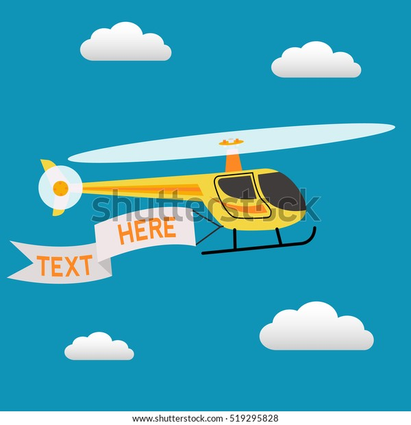 Helicopter Flying Sky Banner Text Vector Stock Vector (Royalty Free