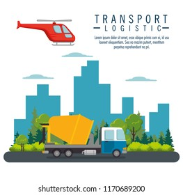 helicopter flying and truck transport icon