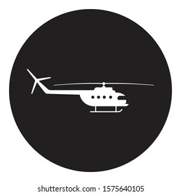 helicopter icon in black circle vector illustration