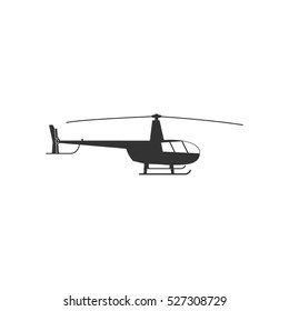 Helicopter icon flat. Illustration isolated vector sign symbol