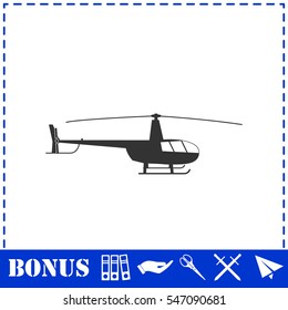 Helicopter icon flat. Simple vector symbol and bonus icon
