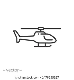 helicopter icon, thin line symbol on white background - editable stroke vector illustration eps 10