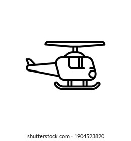 Helicopter Line Icon Isolated On White Background