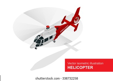 Helicopter Medical evacuation. Air medical service. Flat 3d isometric illustration. For infographics and design