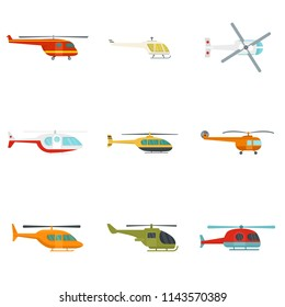 Helicopter military aircraft chopper icons set. Flat illustration of 9 helicopter military aircraft chopper vector icons isolated on white