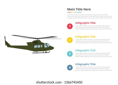helicopter military armyu infographics template with 4 points of free space text description - vector illustration