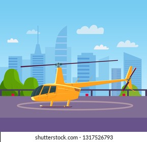 Helicopter on helipad at building rooftop. Vector flat style illustration.