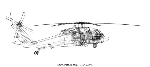 Helicopter outline. Military equipment. Vector EPS10 format, rendering of 3d