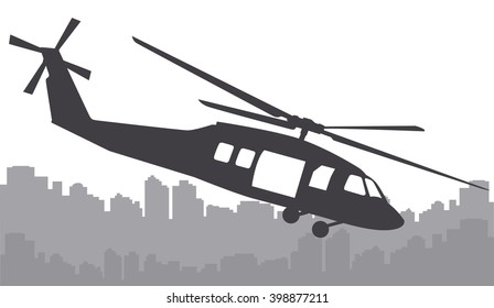 helicopter over the city on a white background