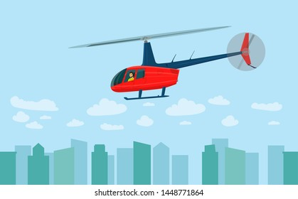 Helicopter over the city. Side view. Man inside. Vector flat style illustration
