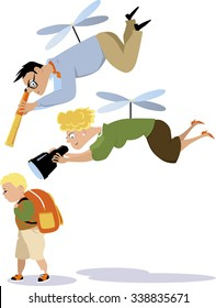 Helicopter parents hovering over a child with a telescope and a binoculars, EPS 8 vector illustration
