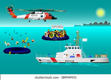 Helicopter rescue teams and ship at sea. The refugees on the boat. The accident on the water. Rescue. Coast security. Vector illustration