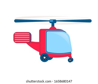 Helicopter. Rotorcraft vertical takeoff and landing. Flat vector illustration isolated on white background.