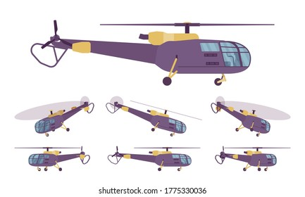 Helicopter set, rotary wing aircraft vehicle. Machine hovering for aerial observation, people, cargo transportation, firefighting, tourism. Vector flat style cartoon illustration, different views