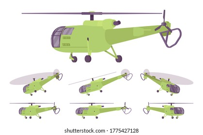 Helicopter set, rotary wing aircraft vehicle. Machine hovering, aerial observation, people, cargo transportation, firefighting, tourism. Vector flat style cartoon illustration, different views